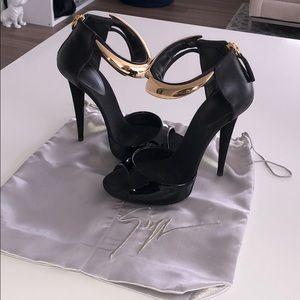 Giuseppe Zanotti black and gold ankle strap heels
